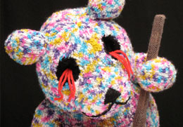 bear knitted sculpture