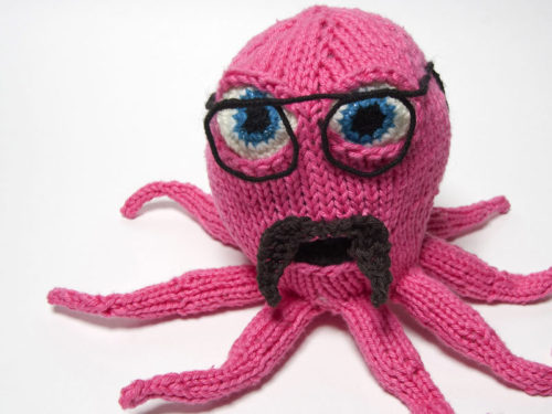 knitted octopus with moustache and glasses
