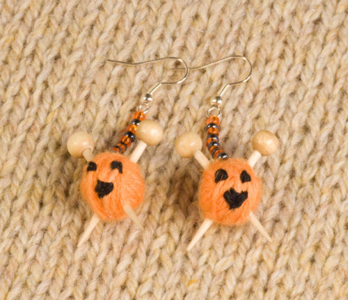 Pumpkin Knitting Earrings