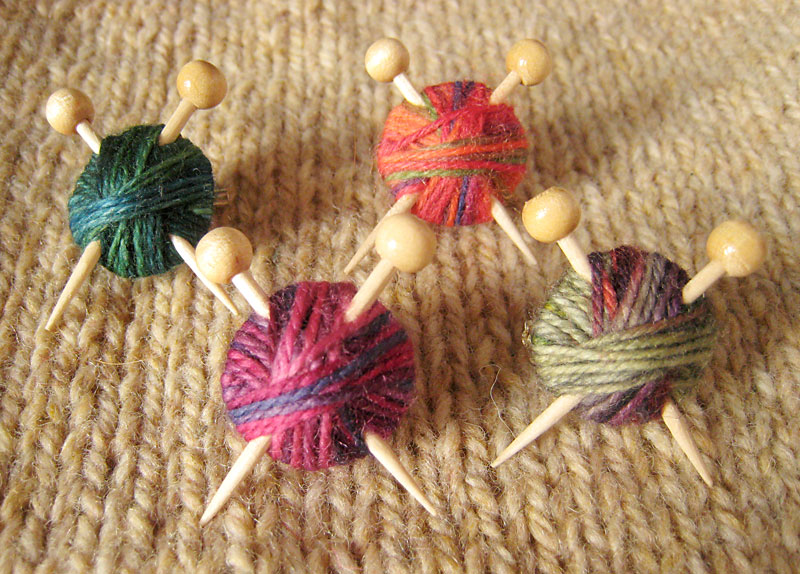 Variegated Yarn Brooches