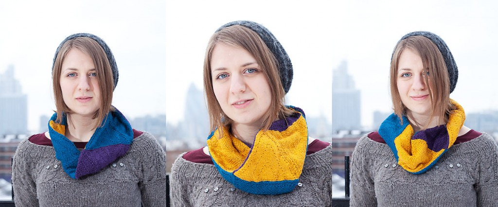 Knitted hexaflexagon cowl