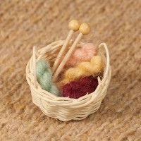Stash Basket Brooch - Mini skeins of yarn and knitting needles