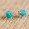 Blue Knitting Earrings - Studs
