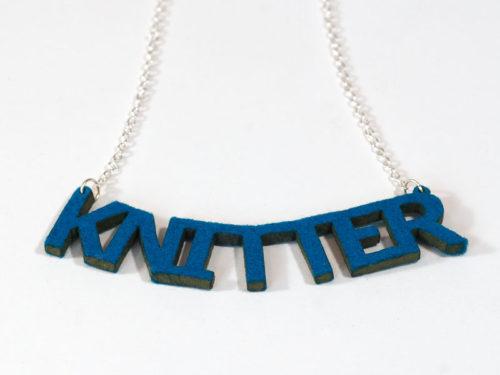 Knitter Necklace - Petrol Blue Felt