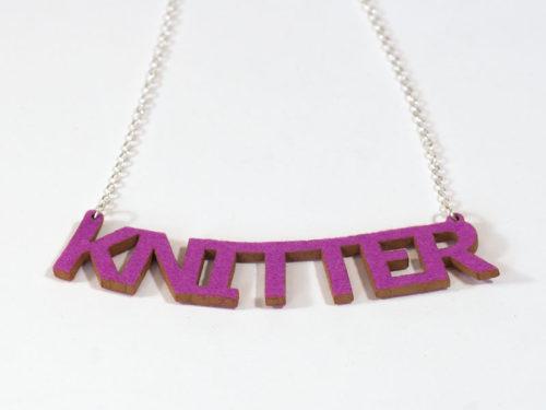 Knitter Necklace - Rose Pink Wool Felt