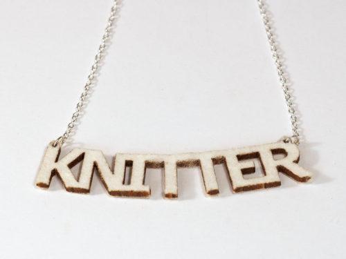 Knitter Necklace - White Wool Felt
