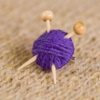 Knitter's Brooch - Purple