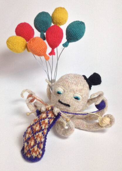 knitted octopus balloons birthday card