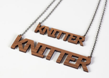 walnut veneer knitter necklace large & small