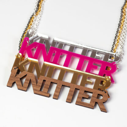 knitter necklaces walnut gold pink silver