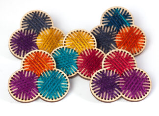 Yarn Trio Stitched brooch