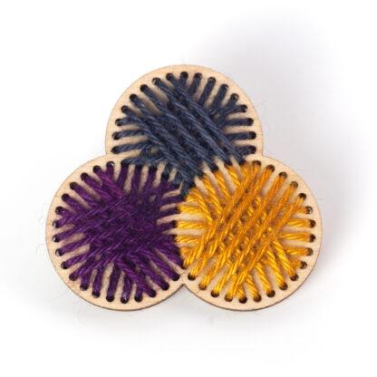Stitched Yarn Ball Brooch