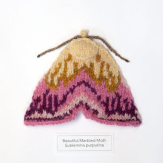 Knitted pink moth