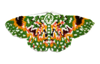 knitted green and orange moth
