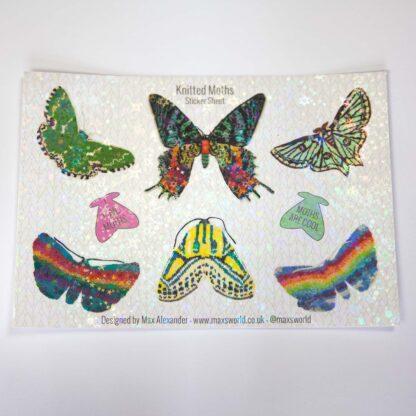 knitted moth sticker sheet