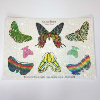 knitted moth sticker sheet