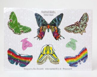 A sheet of 8 colourful moth stickers