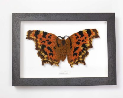 knitted orange and brown butterfly in a dark wood frame