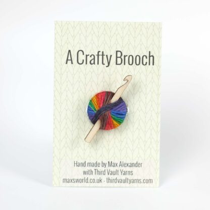 crochet brooch on backing card