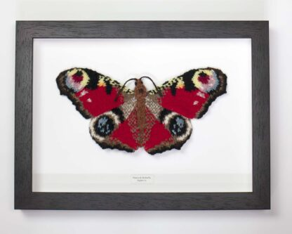 framed knitted peacock butterfly