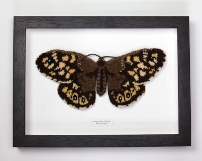 Framed knitted brown butterfly