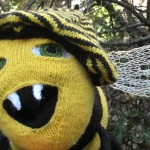 laughing knitted bee