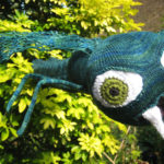 crochet eyeball knited sculpture